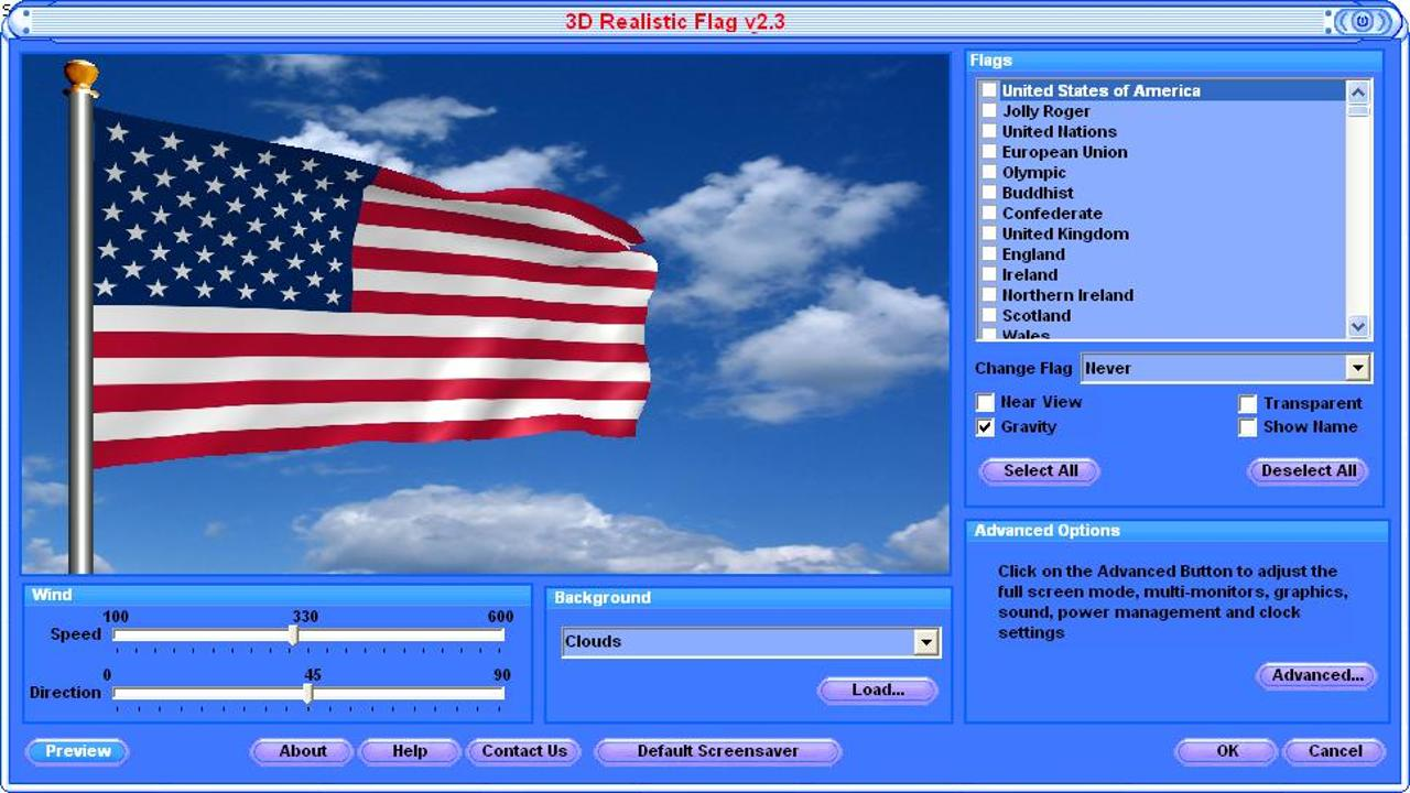 Waving Flag Screen Saver   3D Animated Flags Download 1280x720