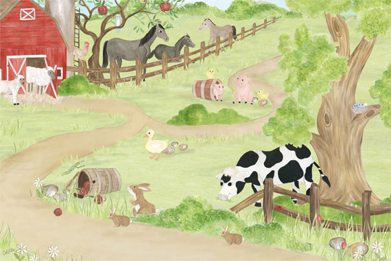 Wall About Fun Peek a Boo Pig Movable Mural   Kids Wallpaper Murals 570x380