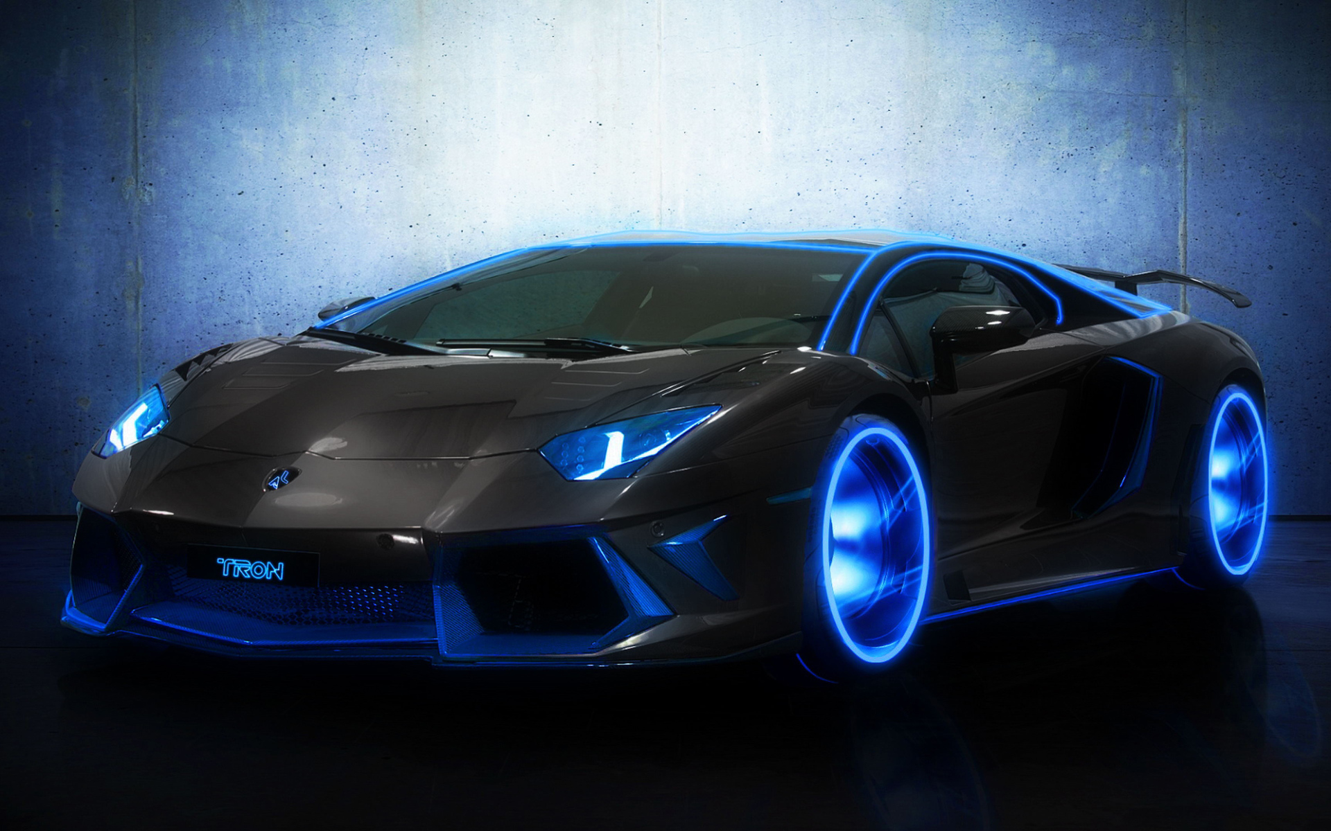 Lamborghini Aventador movies tron manipulation cg digital art neon 1920x1200