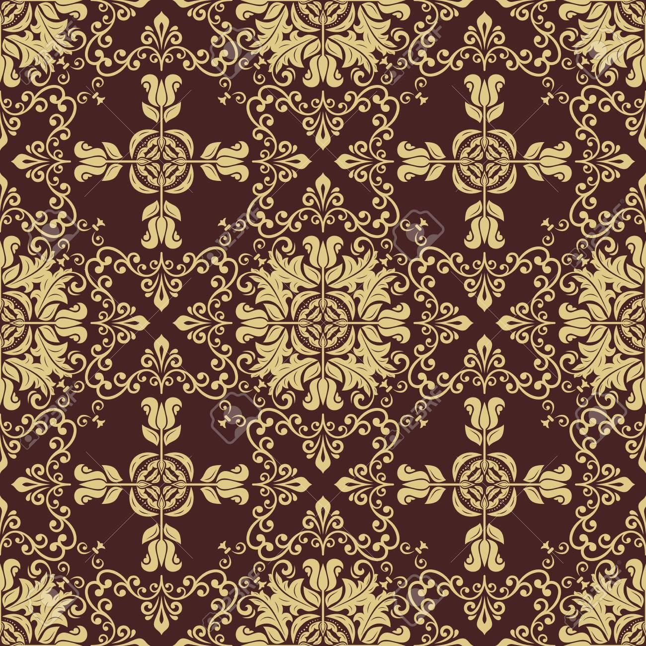 Orient Vector Classic Pattern Seamless Abstract Golden Background 1300x1300