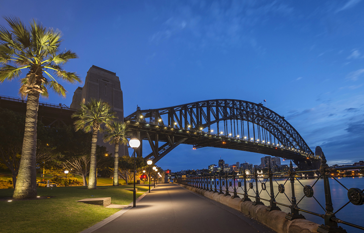 Wallpaper Sydney Australia Bridges Fence Palms river Evening 1280x819