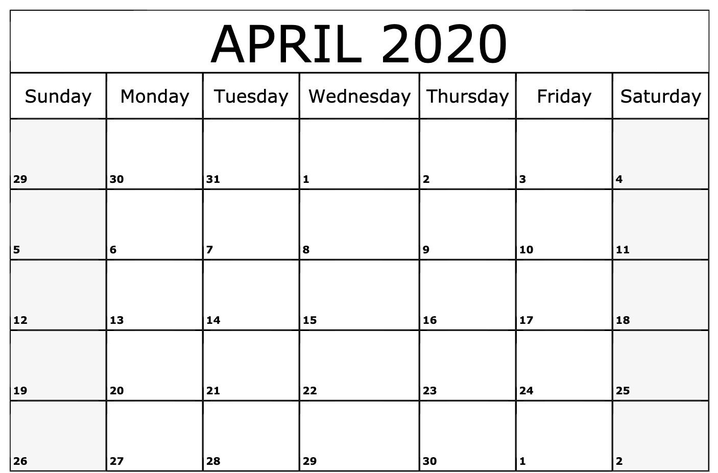 April 2020 Calendar Printable Template 2020 calendar template 1406x926