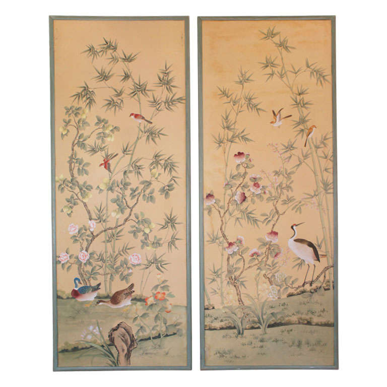 Pair of de Gournay Hand Painted Wallpaper Panels at 1stdibs 768x768