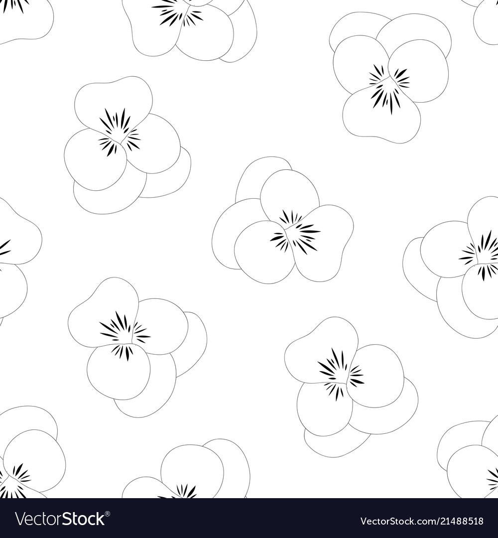 Pansy flower white background outline Royalty Vector 1000x1080
