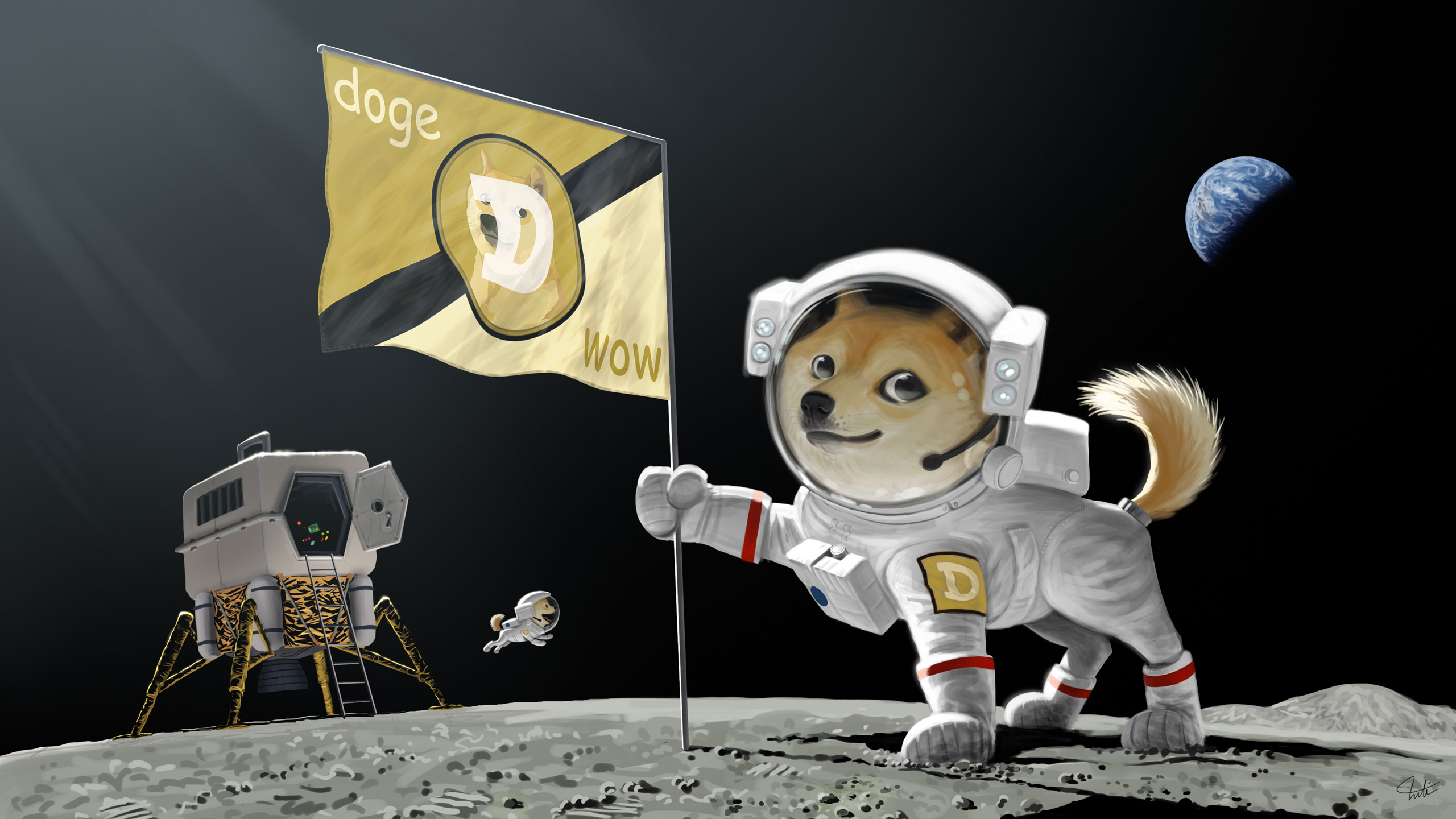 Doge Dog Astronaut Meme Moon Landing Earth Planet Flag wallpaper 2560x1440