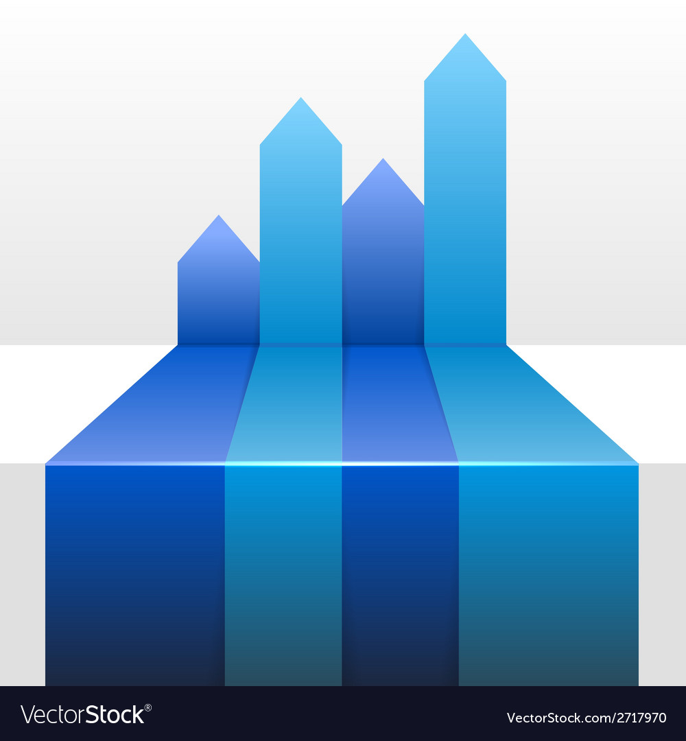 Infographic Background with Four Up Blue Arrows Vector Image 1000x1080
