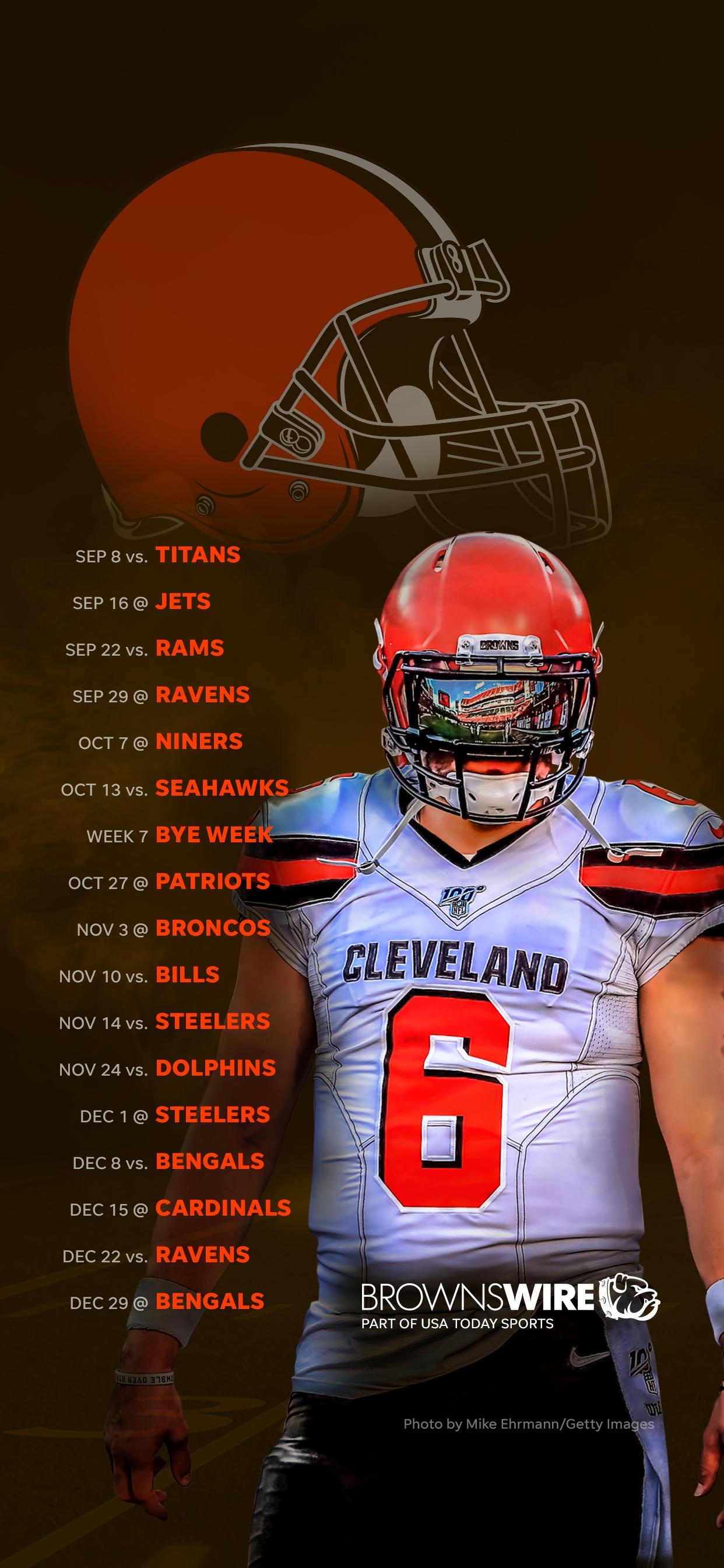 2019 Cleveland Browns schedule Downloadable wallpaper 1242x2688