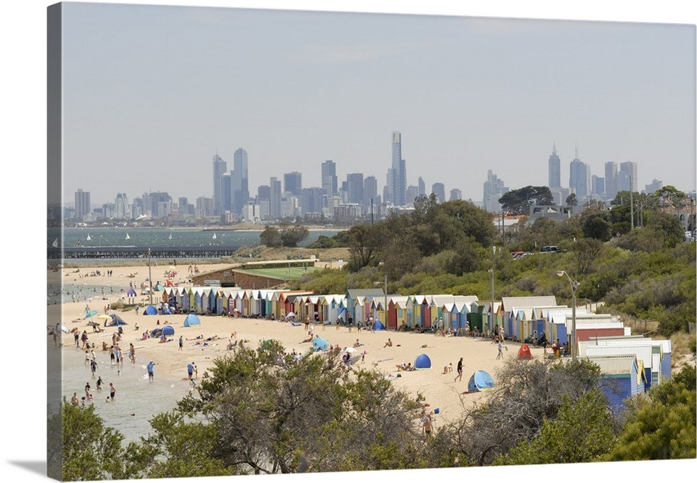 Brighton Melbourne skyline in the background Victoria Australia 1000x693