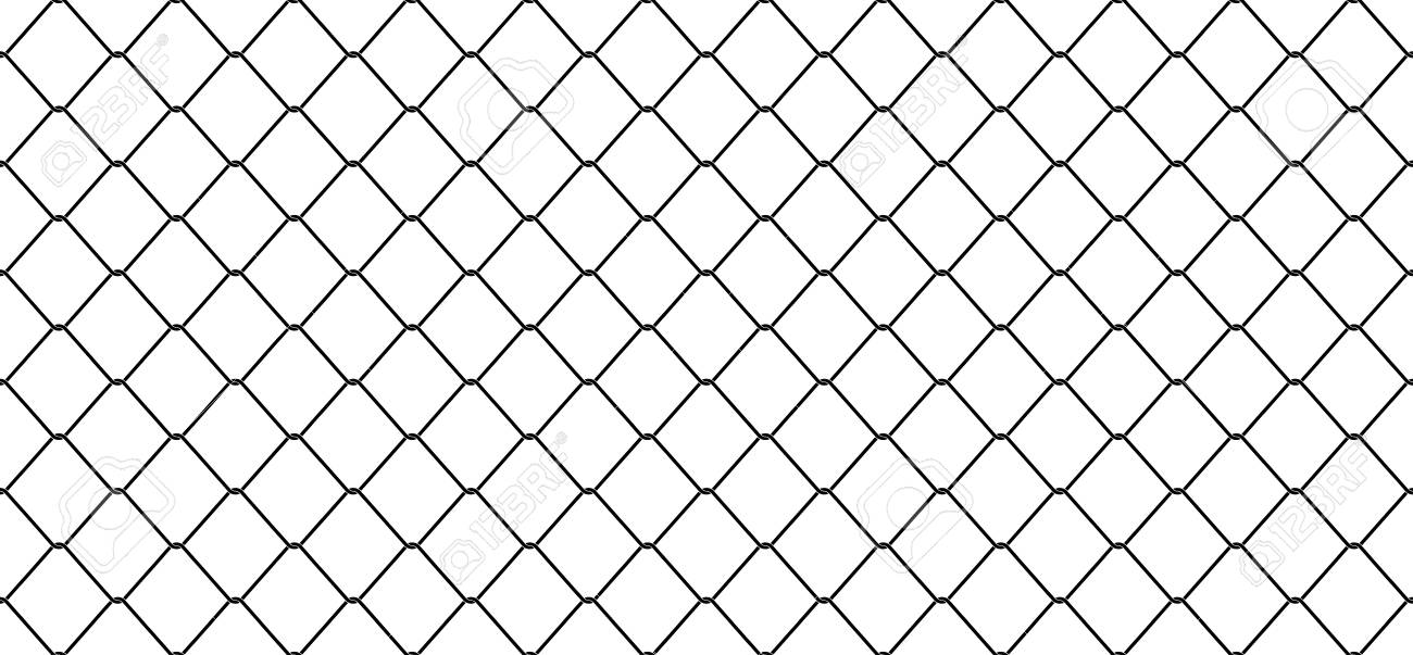 Seamless Pattern Wire Mesh Chain Link Fence Vector Isolated 1300x603