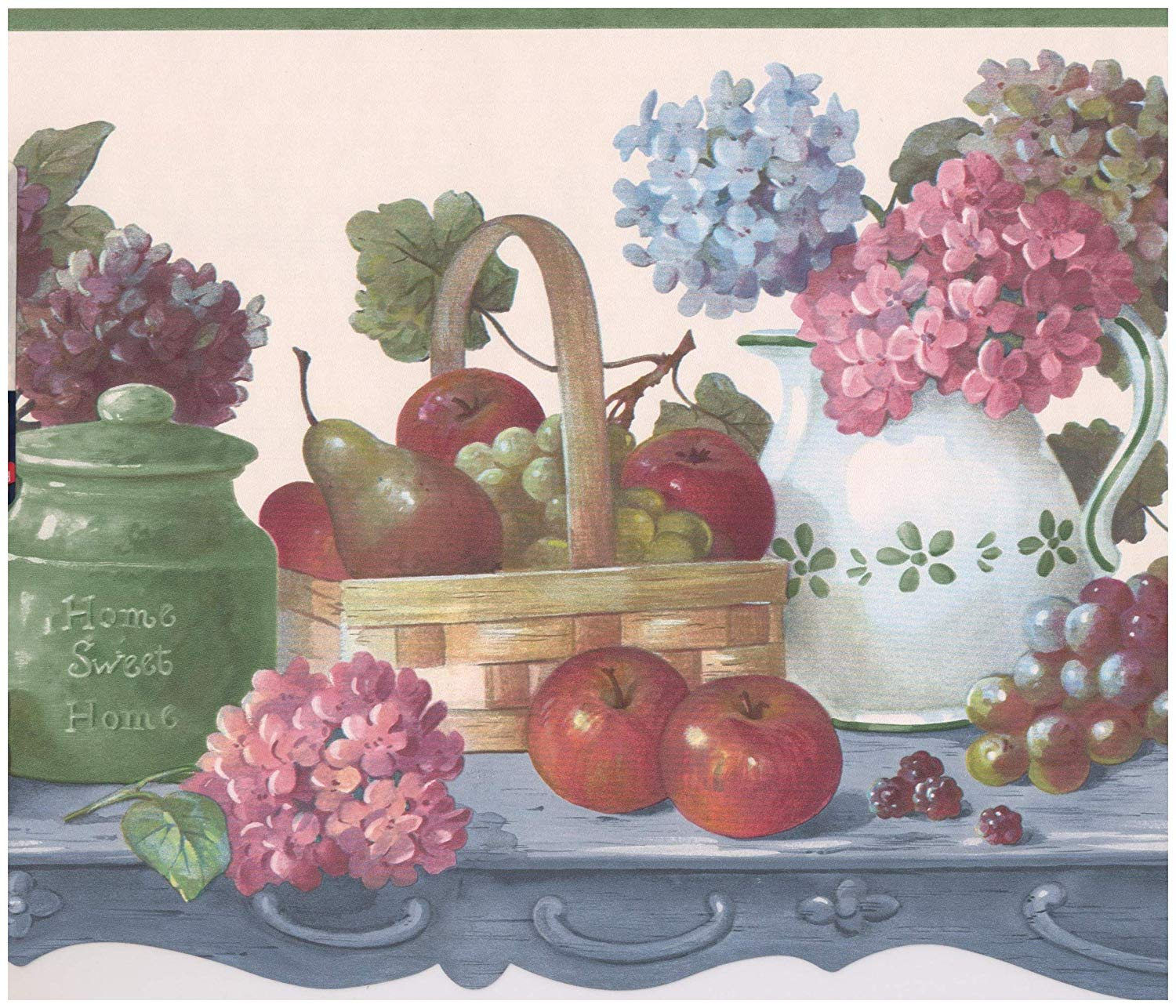 Fruits and Berries in Baskets on Kitchen Table Farmhouse Wallpaper 1500x1286