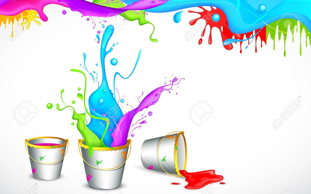 Illustration Of Bucket Full Of Color In Holi Background Royalty 1300x812