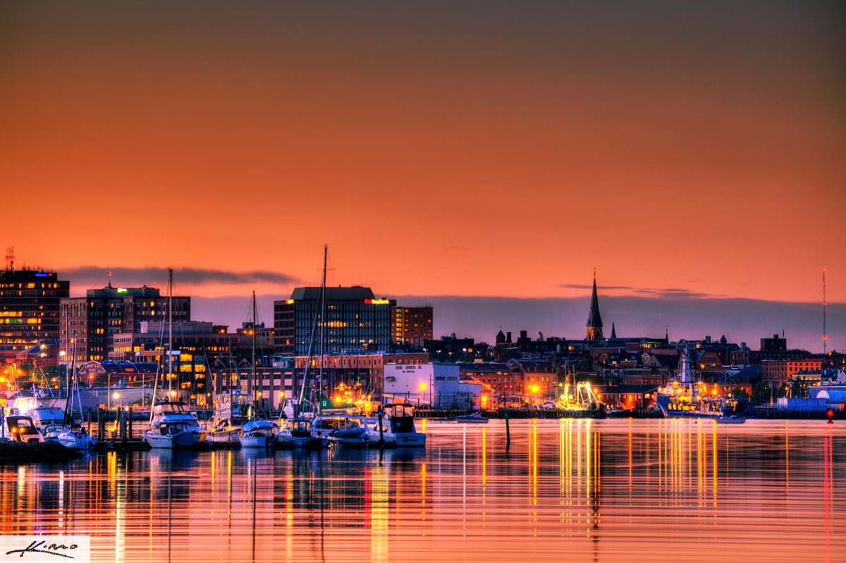 Portland Maine Cityscape Skyline at Sunset Panorama HDR Photography 1200x799
