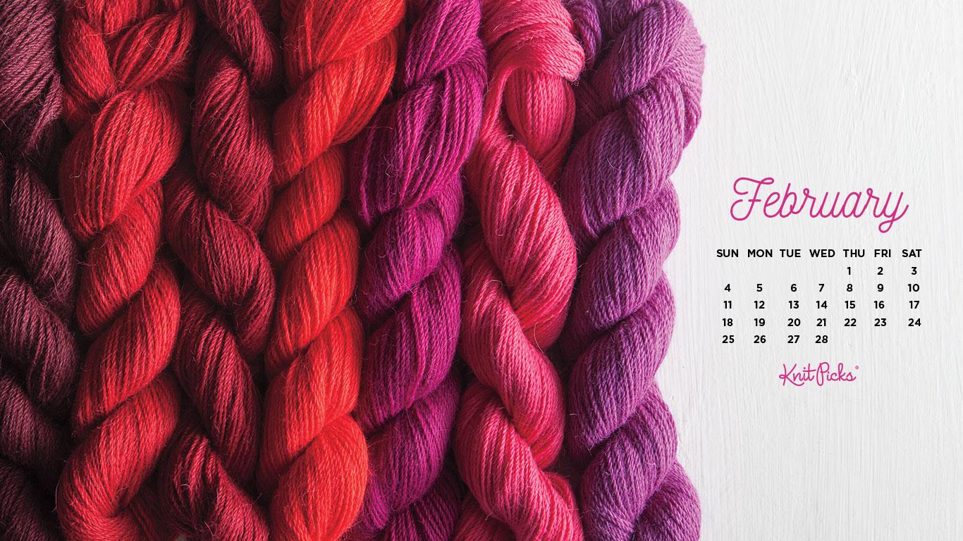 February Calendar from the Knit Picks Staff Blog 1366x768