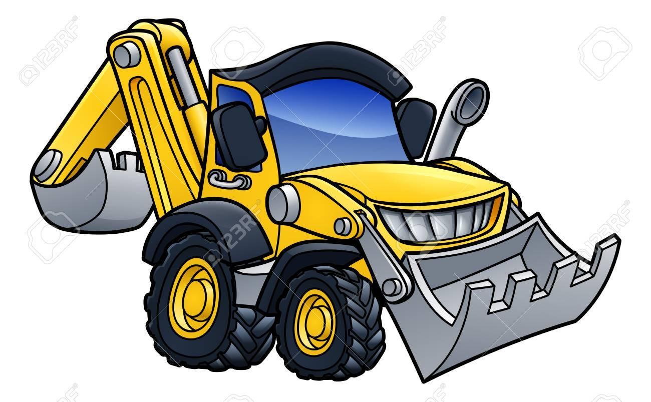 Digger Bulldozer Cartoon On White Background Vector Illustration 1300x803