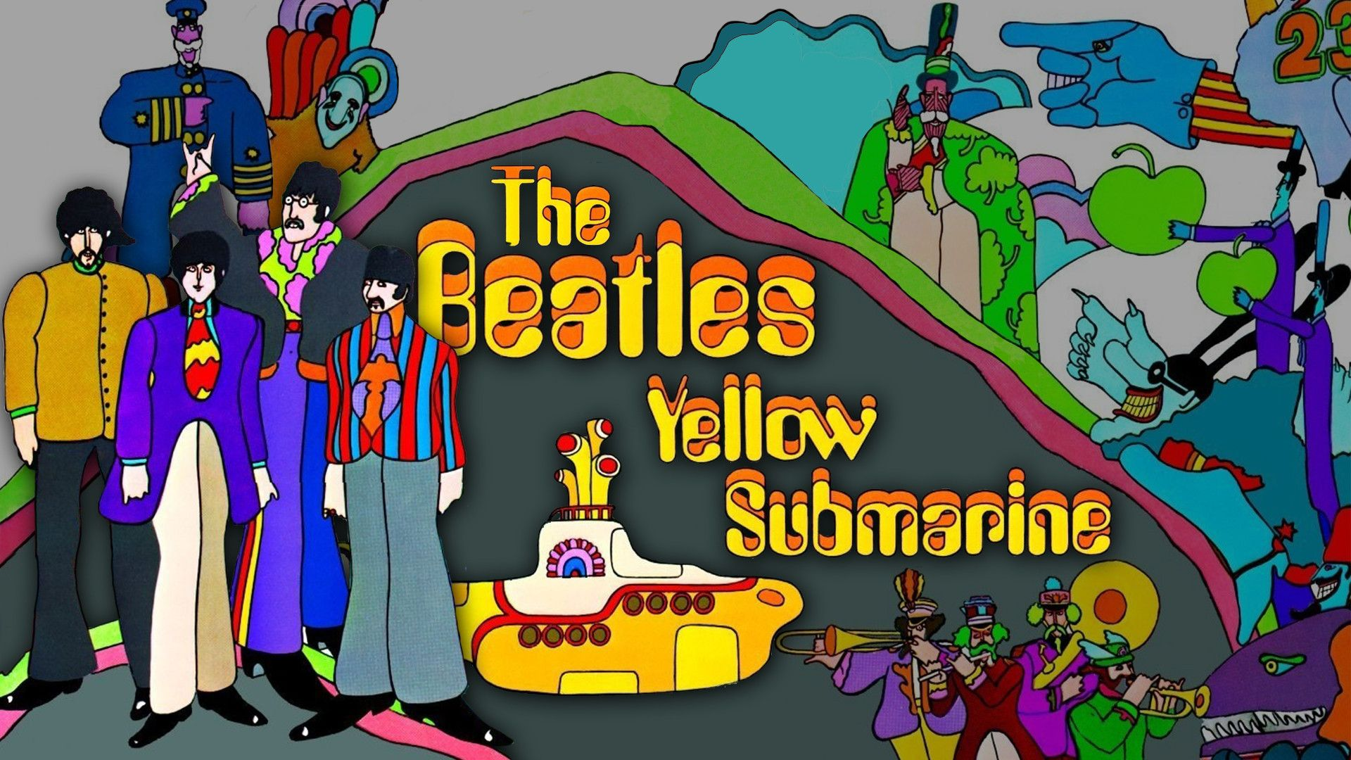 Обои The beatles, sgt. peppers lonely hearts club band, yellow submarine. Музыка foto 10