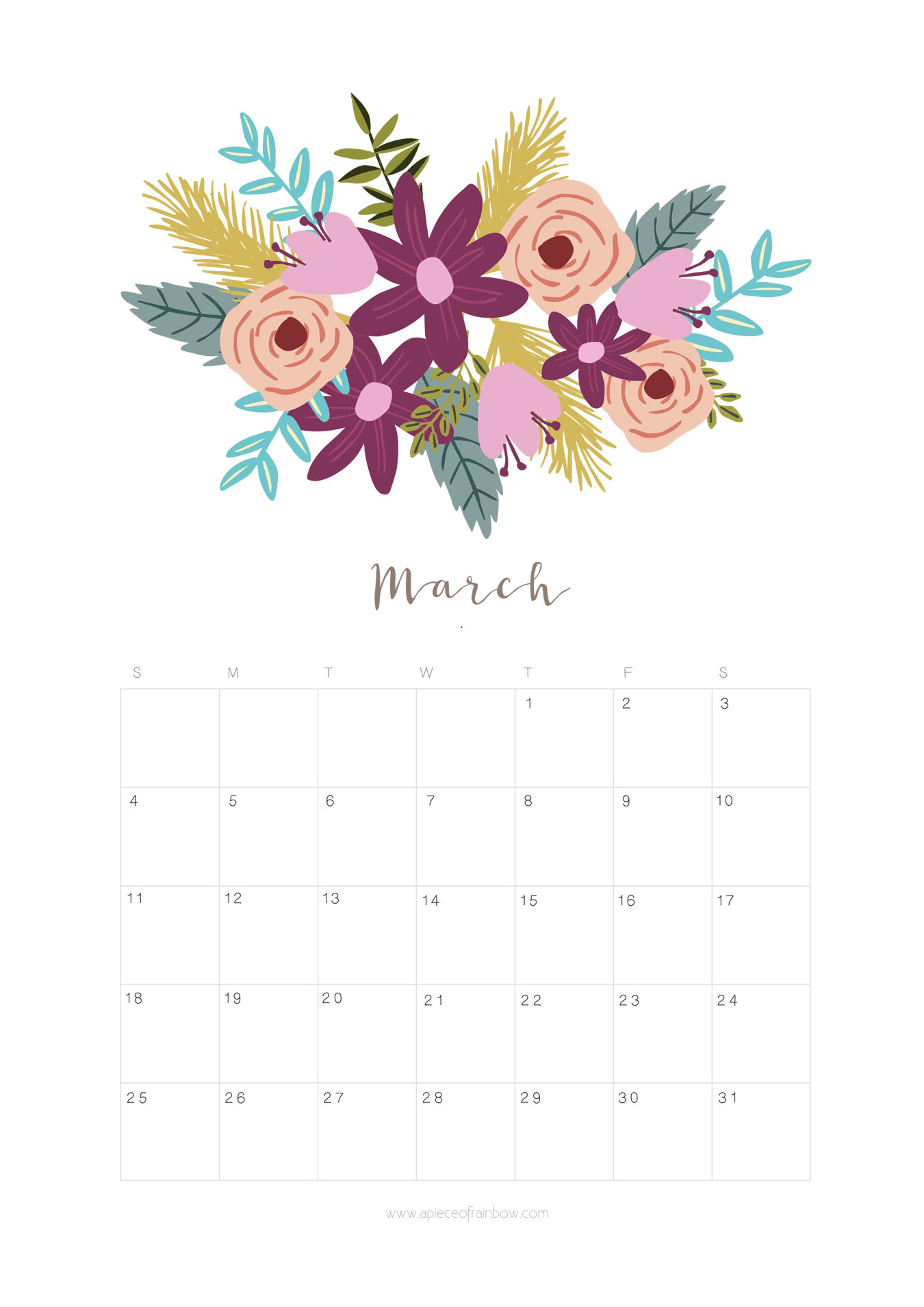 Printable March 2018 Calendar Monthly Planner   Flower 1350x1909