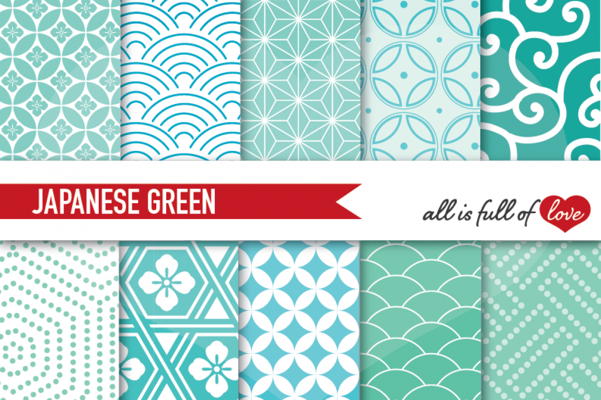 Japanese Backgrounds in Mint Green Digital Graphics Printable 1200x800