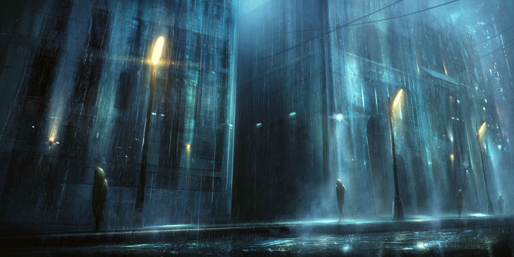 city dark korbox night original rain scenic water wallpaper background 1800x900
