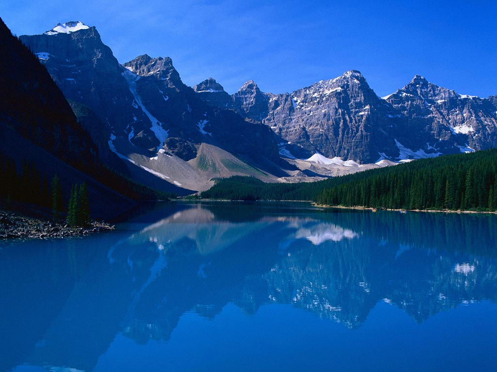 Wallpaper forest blue canada mountains reflection Moraine Lake 1024x768