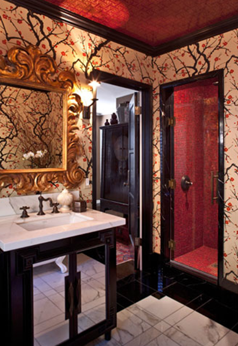 Asian Inspired Wallpaper and Murals in Bathroom Decor 480x697