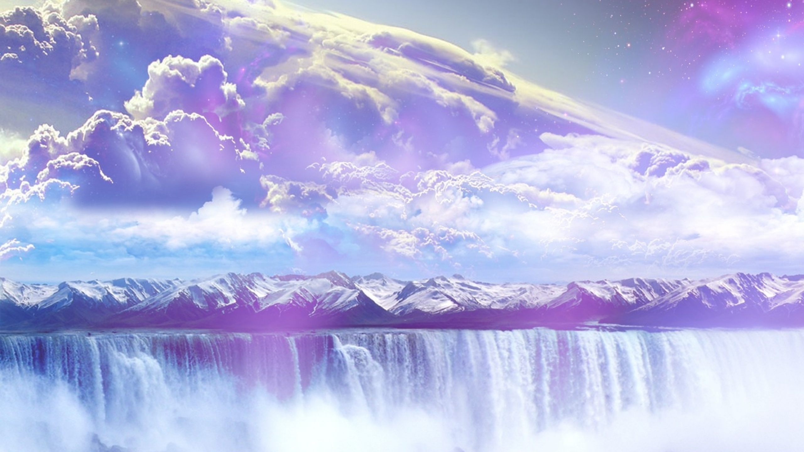 2560x1440 Galaxy Waterfall Mountains Sky desktop PC and Mac wallpaper 2560x1440
