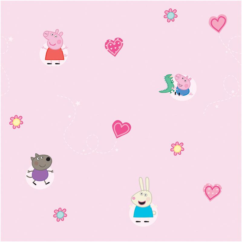 Home DIY Wallpaper Fine Decor Fun4Walls Peppa Pig Pink Motif Wallpaper 800x800