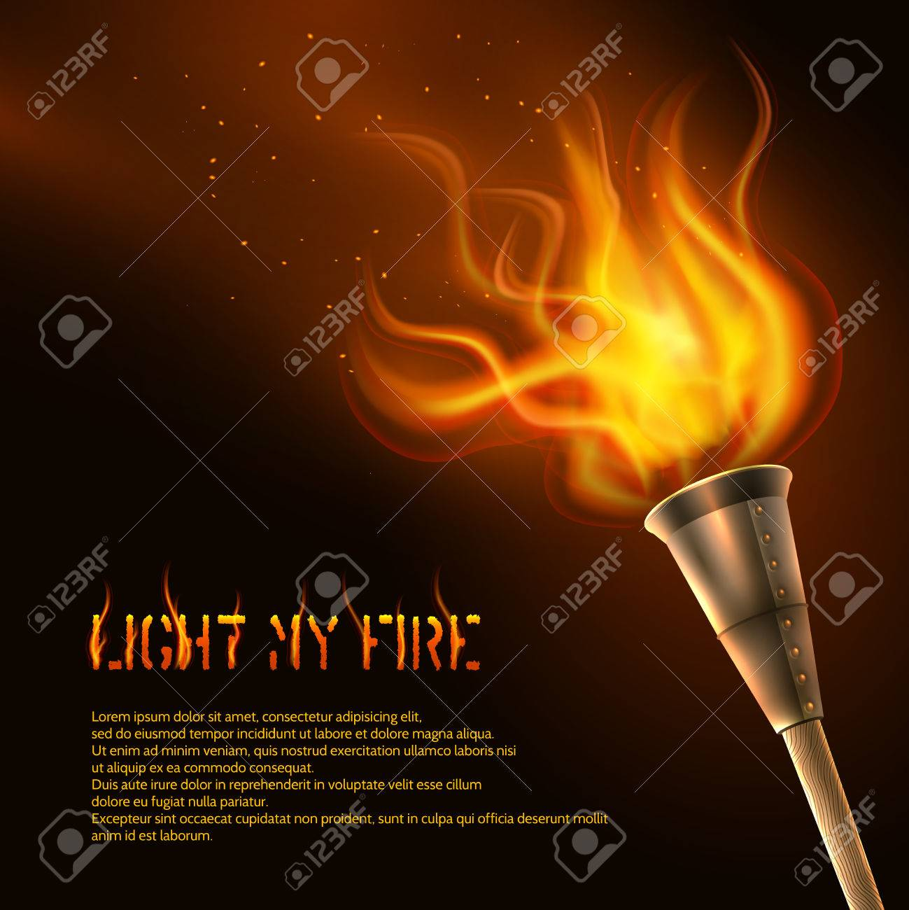 Torch Flame Realistic Background With Light My Fire Text Vector 1299x1300