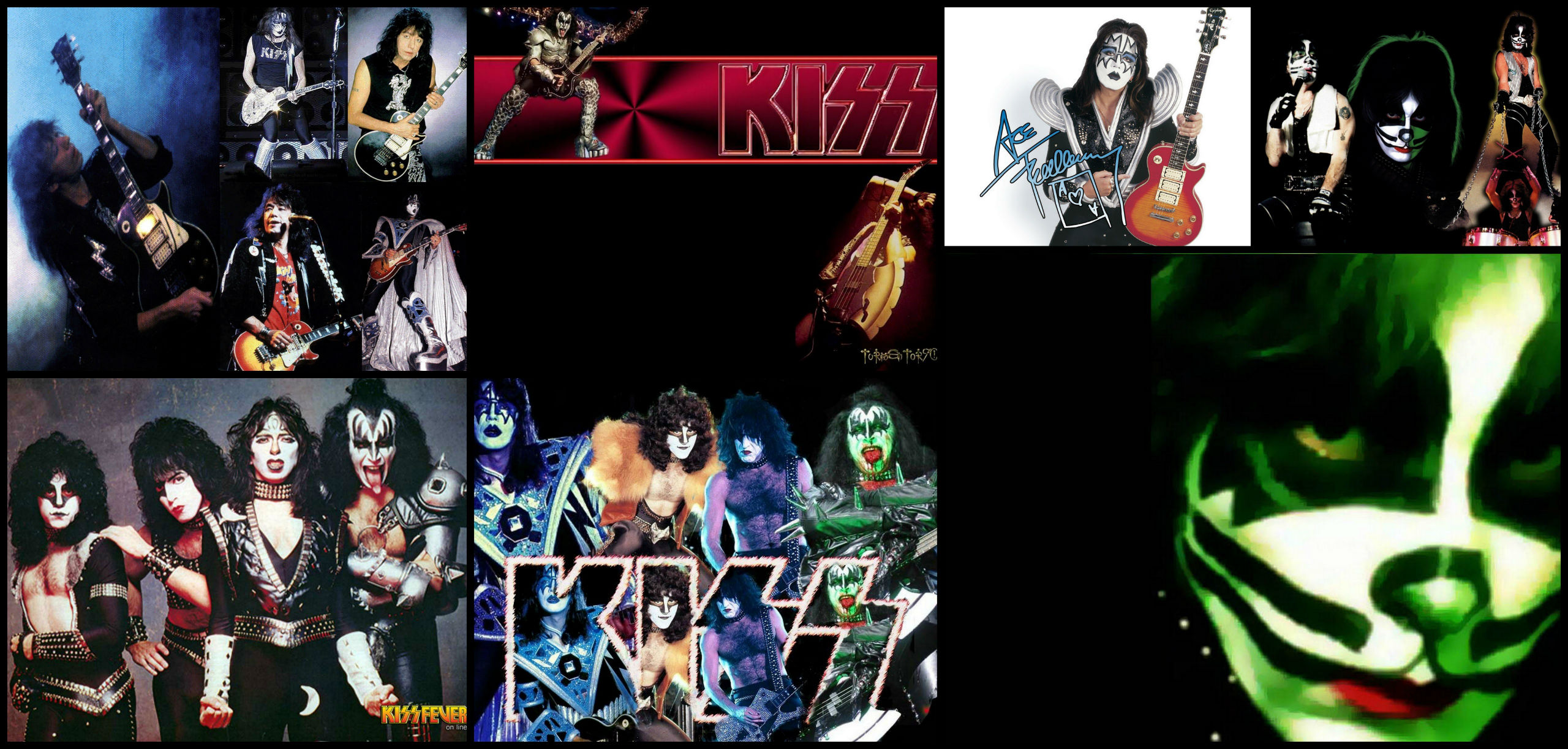Kiss heavy metal rock bands concert guitar e wallpaper background 2560x1222