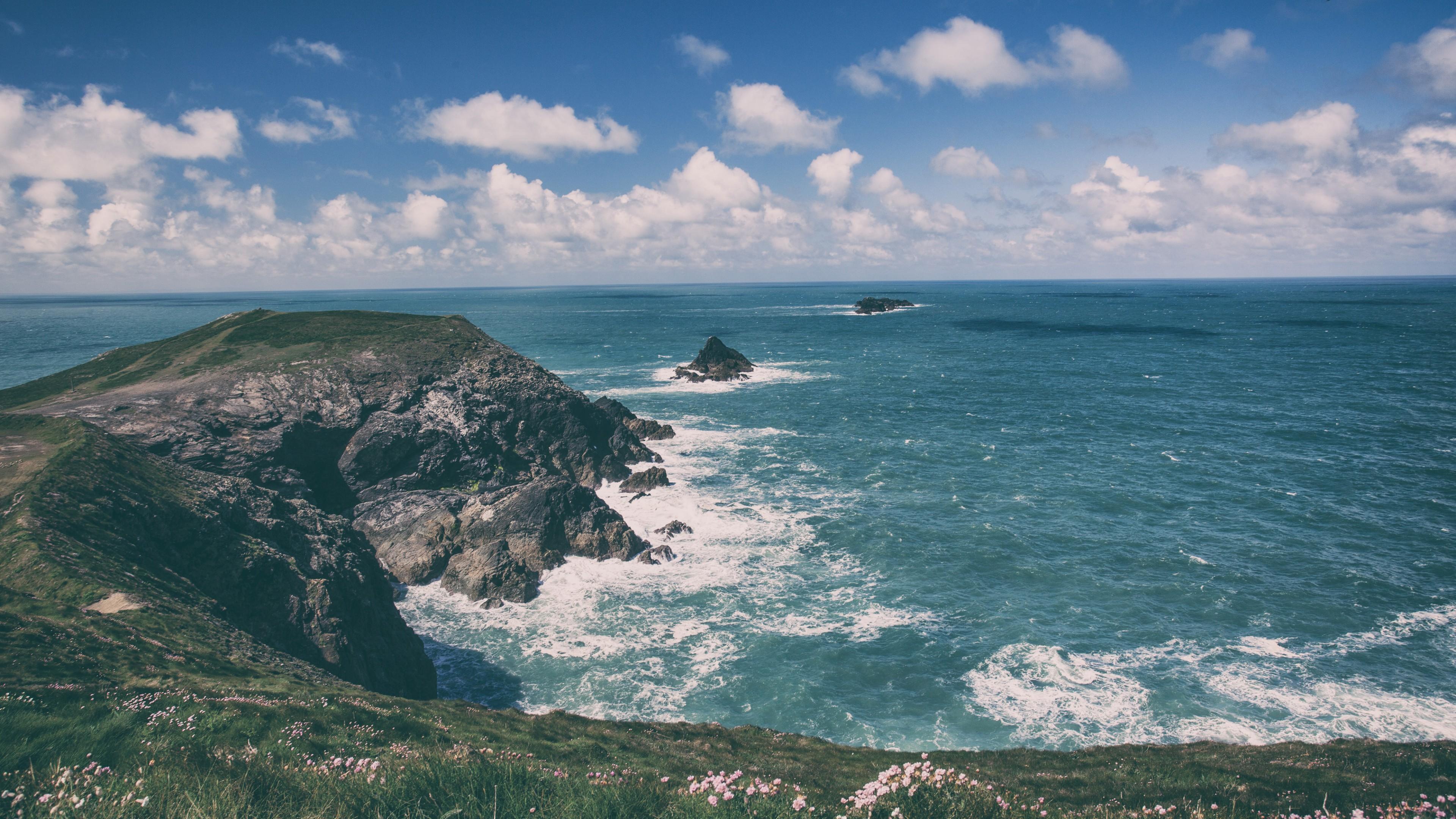 Wallpaper Cornwall 5k 4k wallpaper England coastline rocks 3840x2160