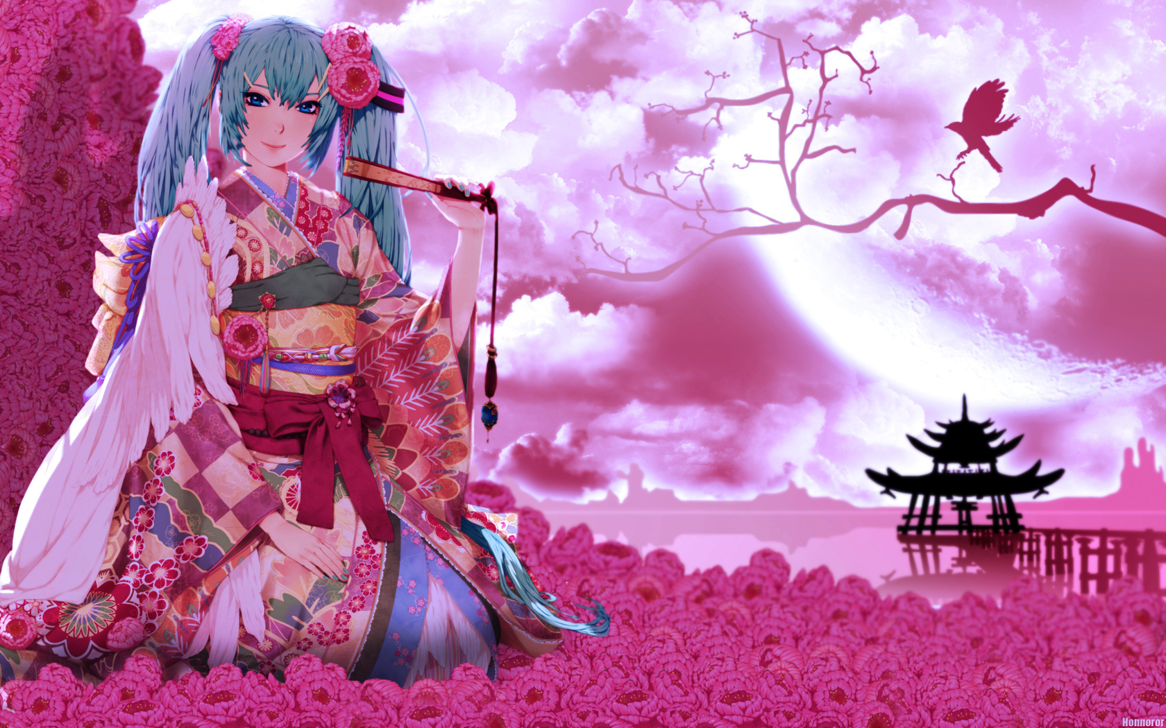 Anime   Vocaloid Oriental Pink Girl Anime Geisha Geisha Girl Wallpaper 1680x1050
