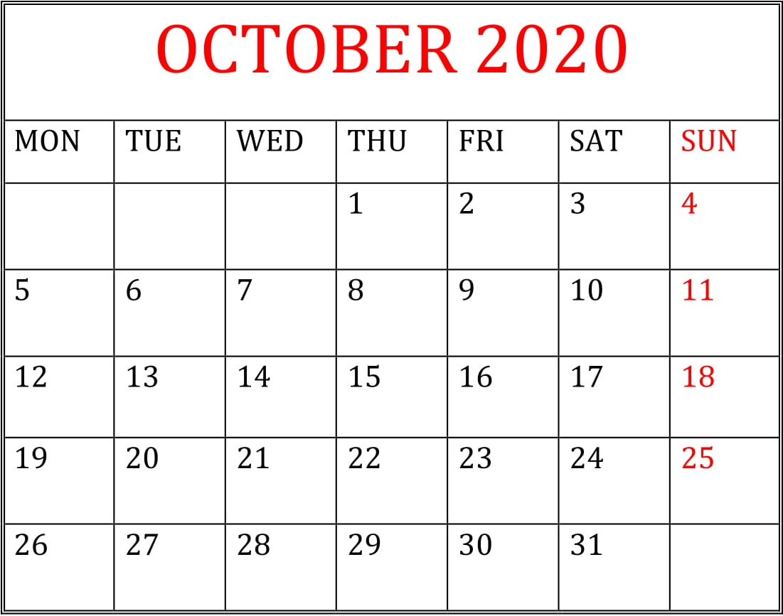 Printable October 2020 Calendar Desktop Wallpaper 1101x867