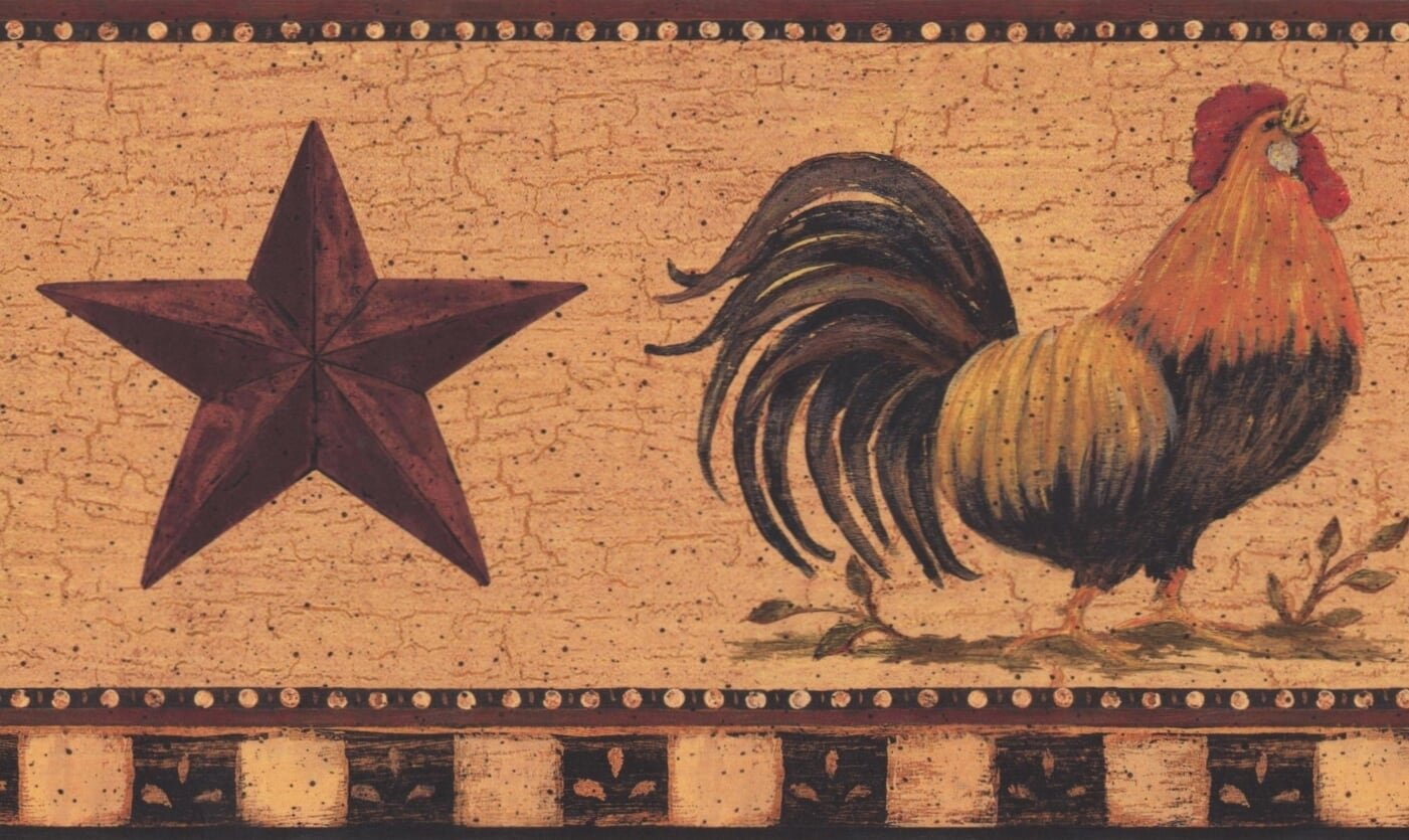 Rooster Mauve Star Merigold Vintage Wallpaper Border Retro Design 1401x835