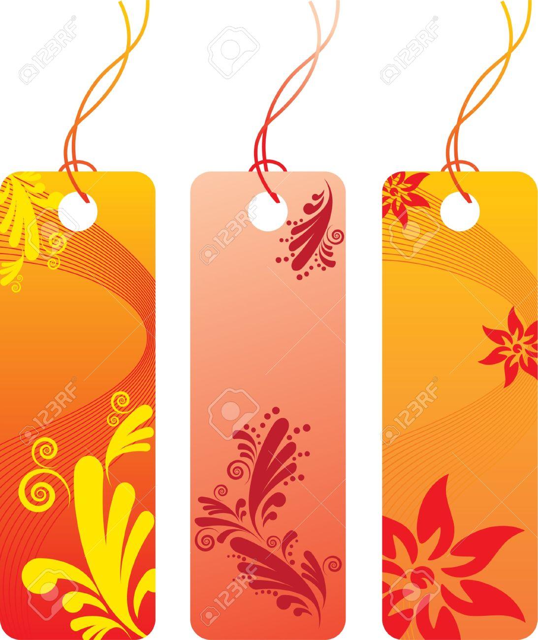 Orange Flower Price Tag Label Set Many Decorative Elements 1093x1300