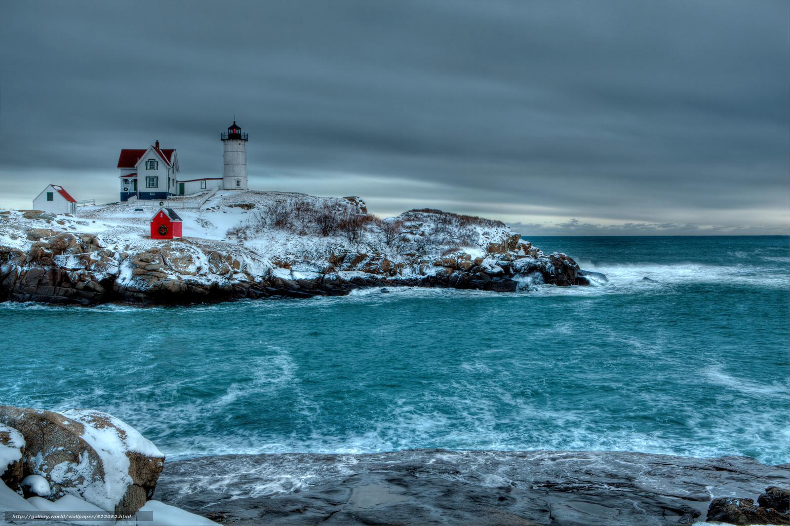 wallpaper Winter sea rocky shores lighthouse desktop wallpaper 1600x1066