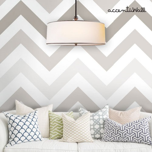 Chevron Grey Peel and Stick Fabric Wallpaper Repositionable 500x500