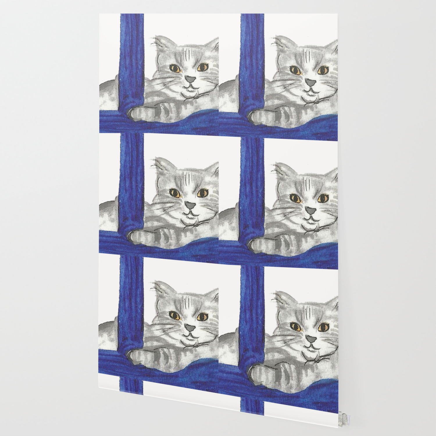 Cat From Santorini Wallpaper by fairychamber Society6 1500x1500