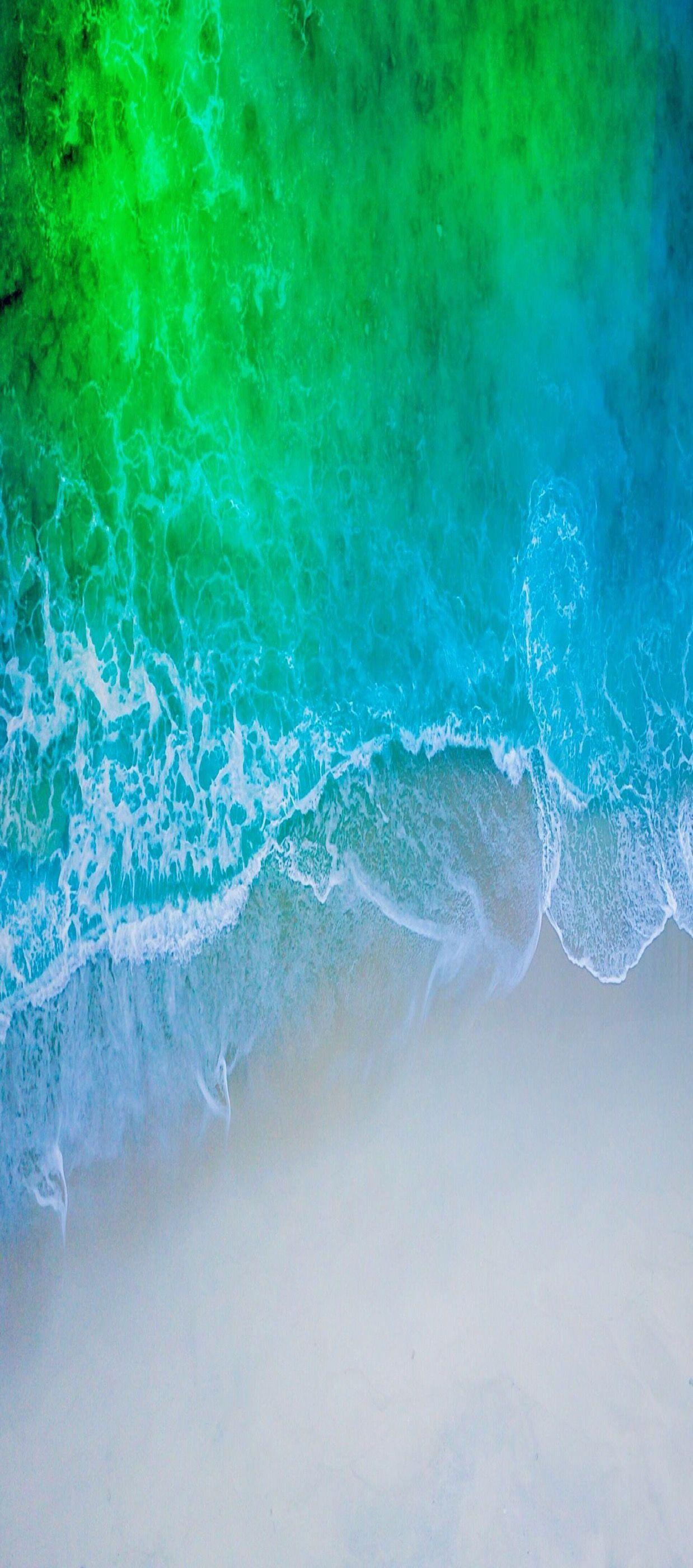 iOS 11 iPhone X Aqua blue Water beach wave ocean apple 1238x2800