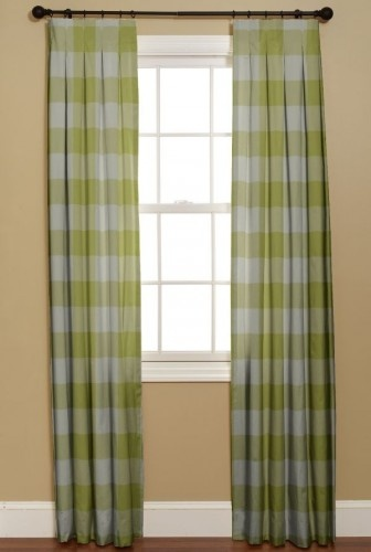 green buffalo check curtains in a room with chinoiserie wallpaper 336x500