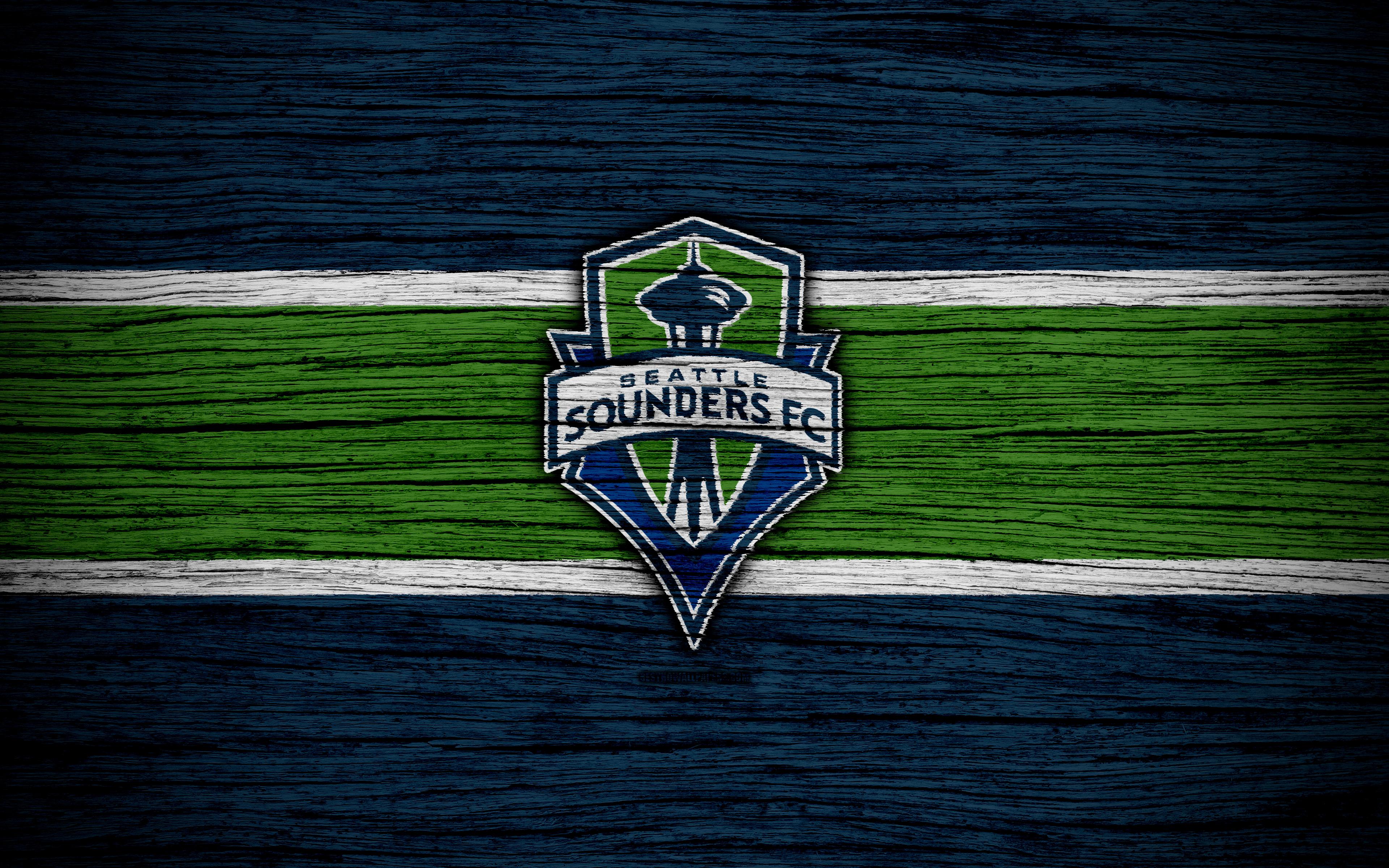 Download wallpapers Seattle Sounders 4k MLS wooden texture 3840x2400