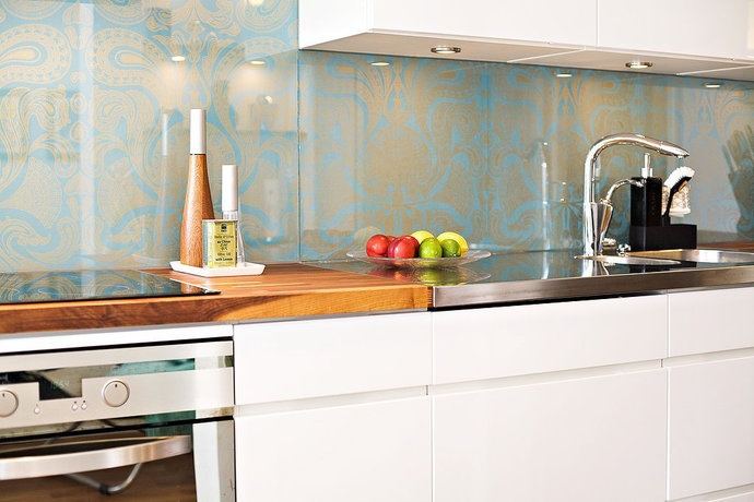 Backsplash over wallpaper wallpapersafari for Textured wallpaper for kitchen backsplash