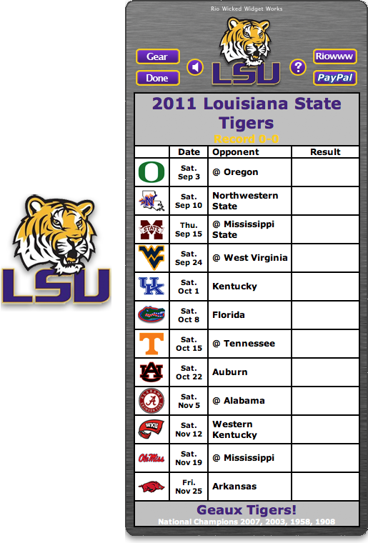 tigers football schedule schedules 2011 lsu tigers football schedule 515x760