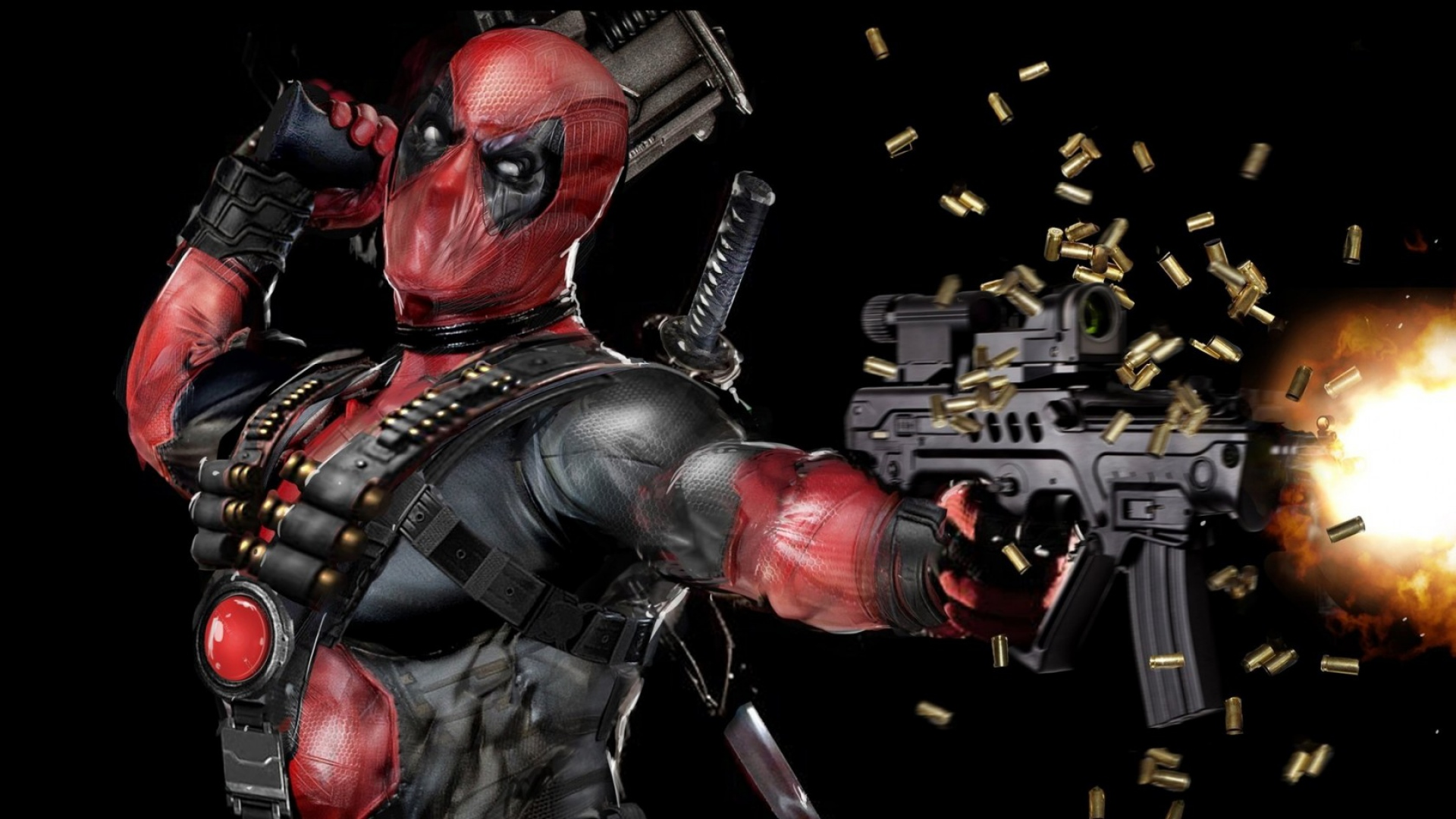 Wallpaper 1920x1080 Deadpool Mask Gun Automatic Full HD 1080p HD 1920x1080