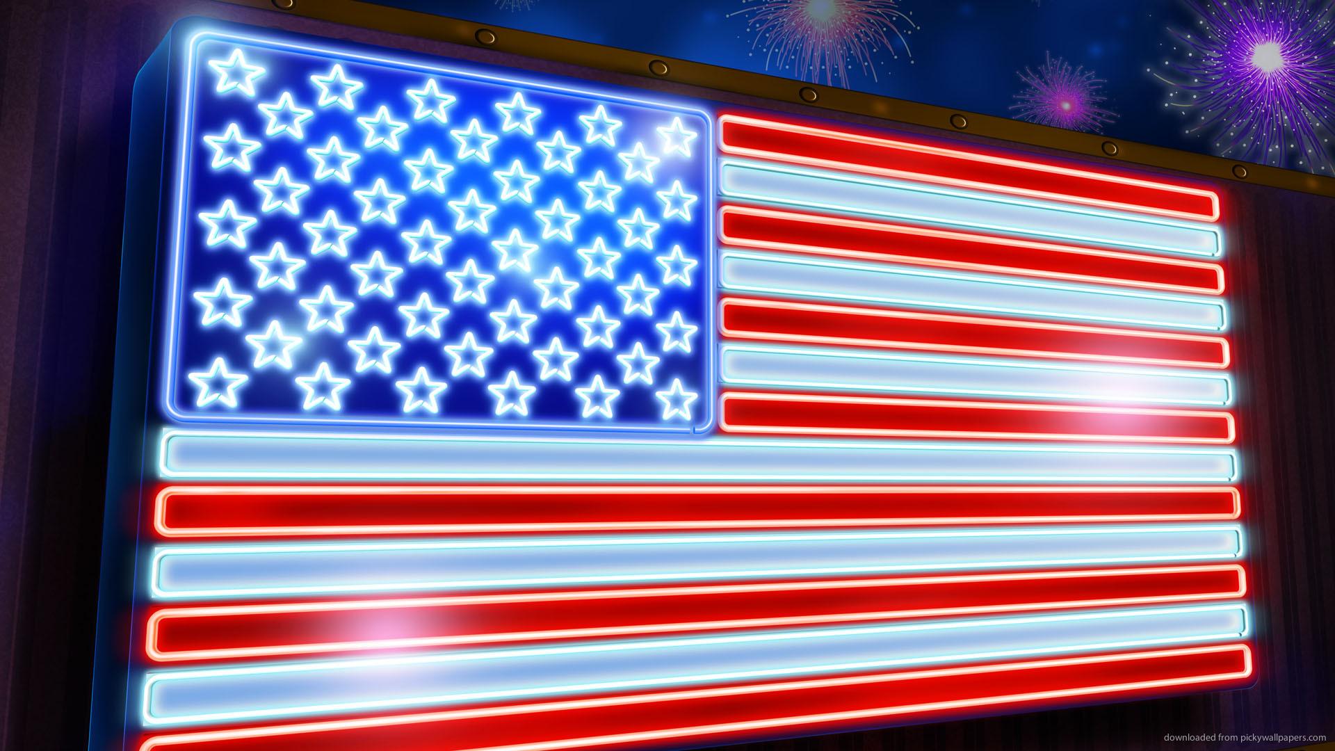 Neon USA Flag Wallpaper For PSP 1920x1080