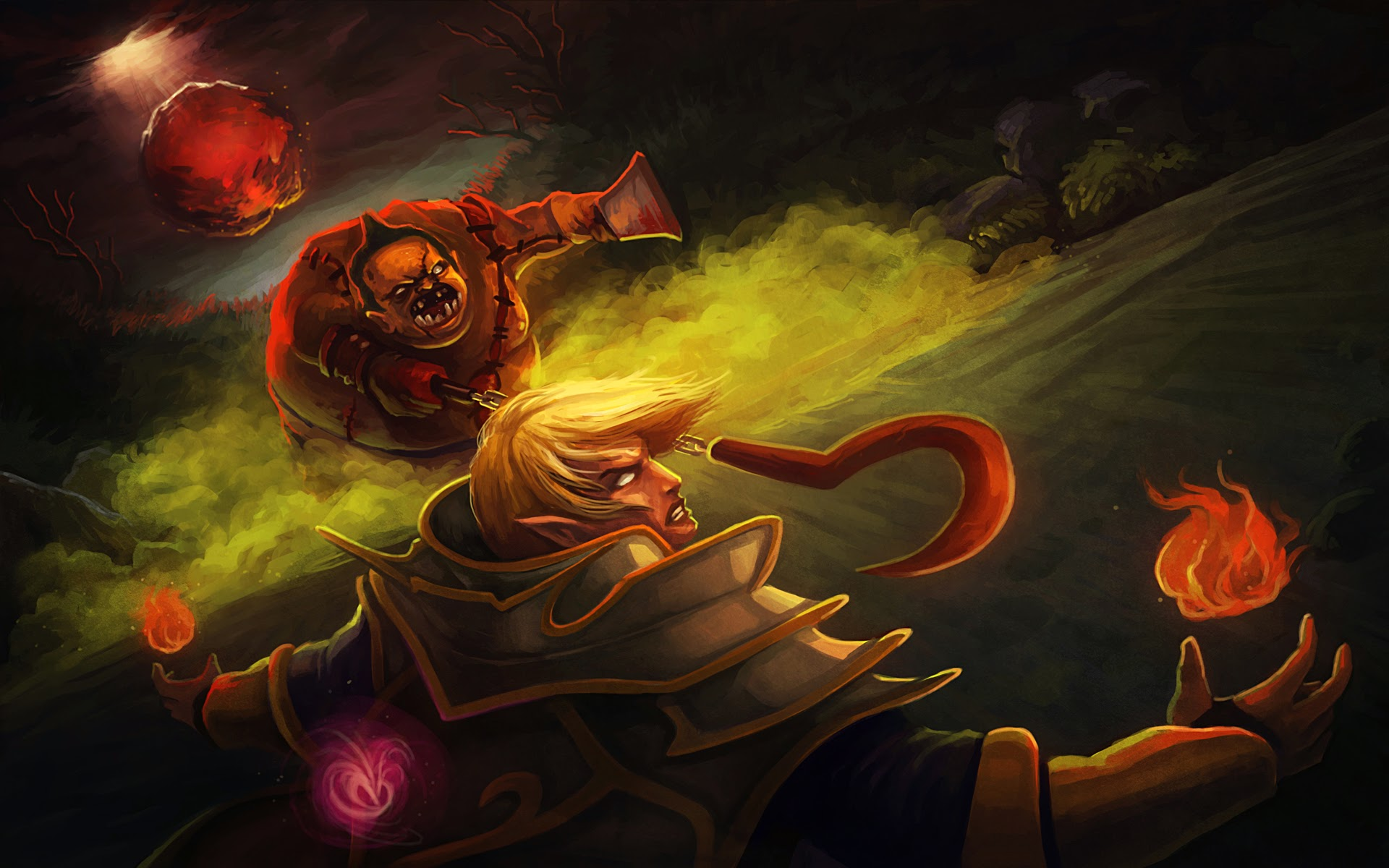 pudge vs invoker art dota 2 hd wallpaper 1920x1200 widescreen w6 1920x1200