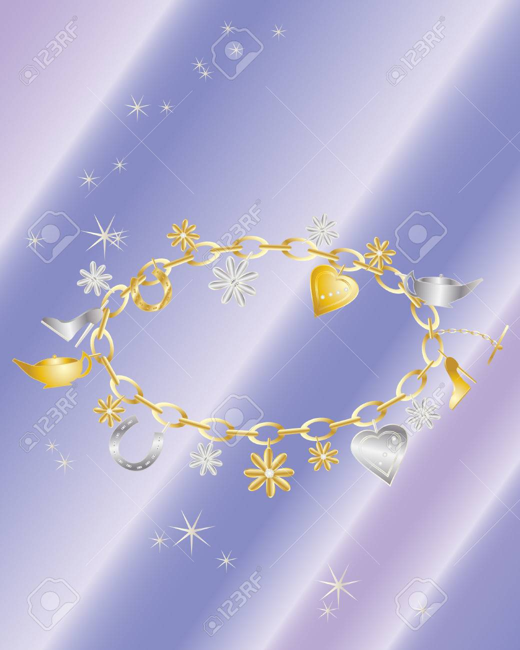 An Illustration Of A Charm Bracelet With Gold And Silver Charms 1040x1300