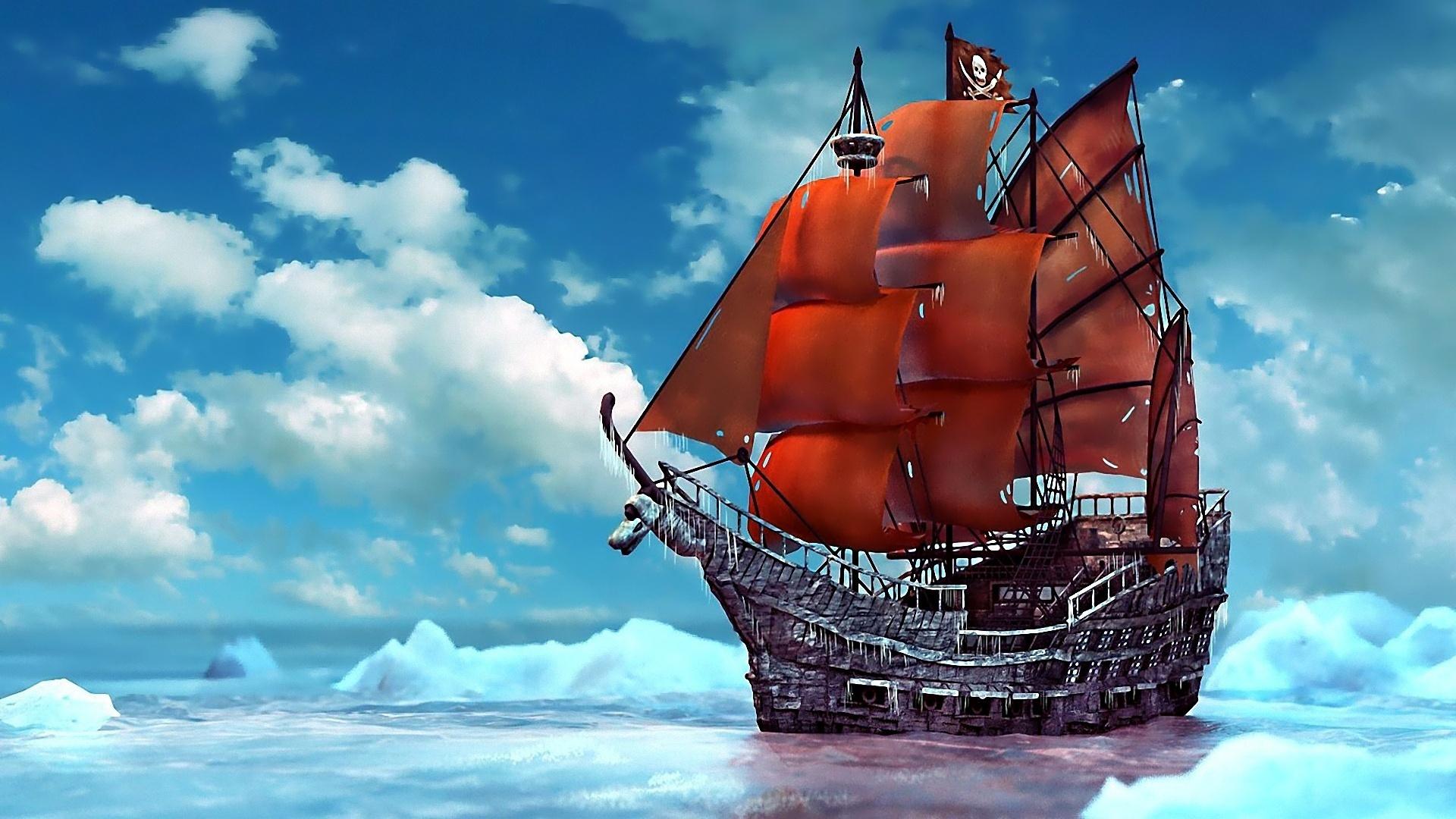 ship ships boat boats pirates ocean sea fantasy wallpaper background 1920x1080