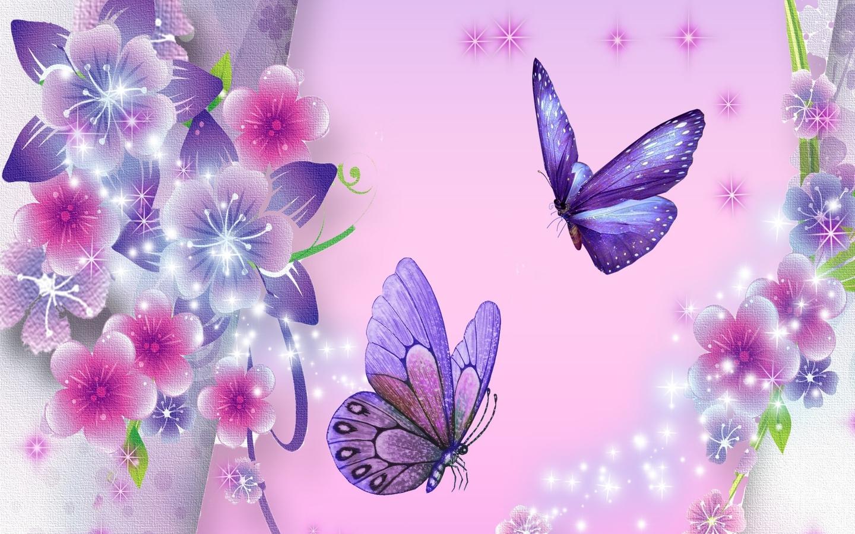 Free Desktop Wallpaper Purple Butterflies Background