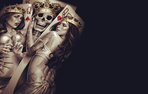 Wallpaper king queen crown poker tattoos skull bones skeleton 596x380
