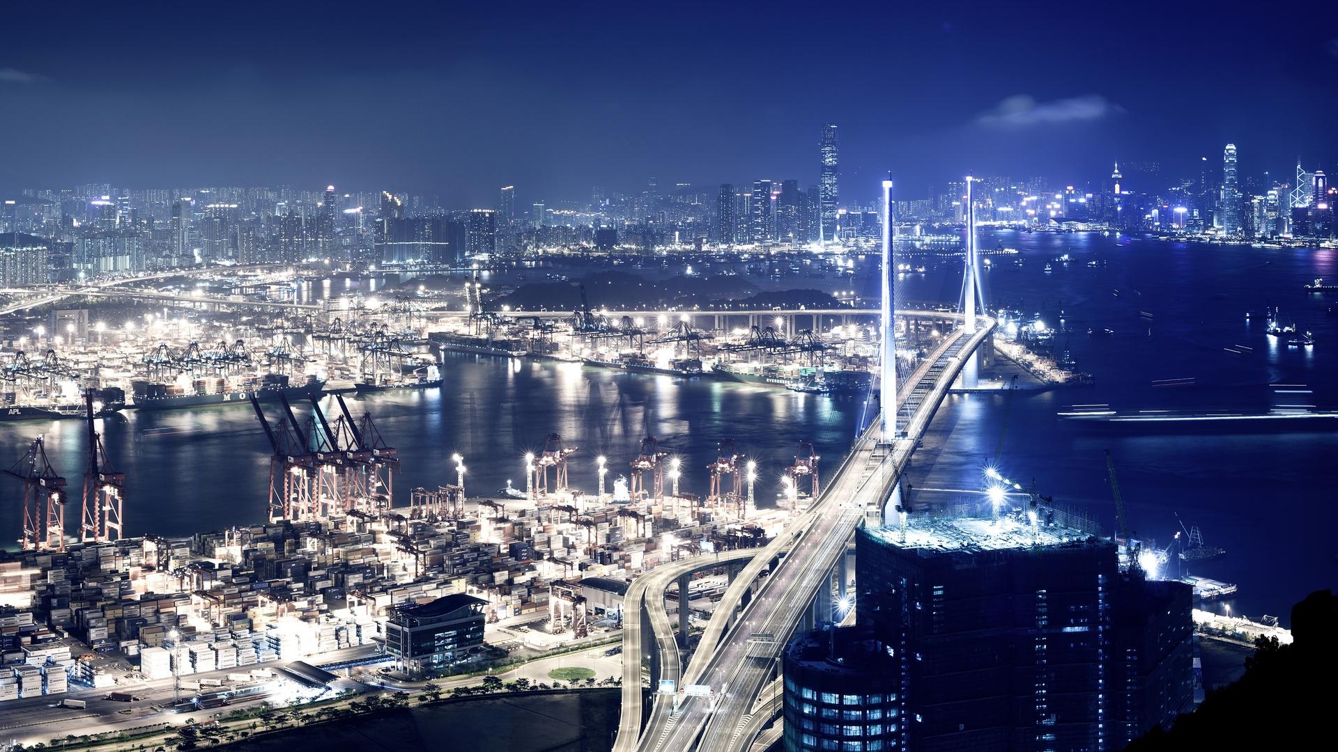 Download Hong Kong City Night View Wallpaper Wallpapers 1920x1080