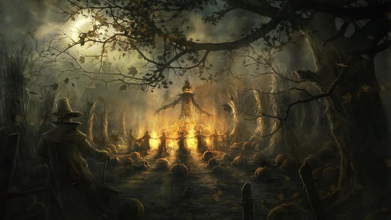 Scary Halloween wallpaper 1366x768 33988 1366x768